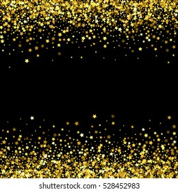 Abstract pattern of random falling gold stars on black background. Glitter template for banner, greeting card, Christmas and New Year card, invitation, postcard, paper packaging. Vector illustration