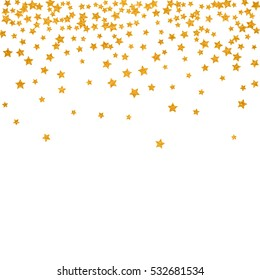 Abstract pattern of random falling golden stars on white background. Elegant pattern for banner, greeting card, Christmas and New Year card, invitation, postcard, paper packaging. Vector illustration.