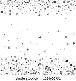 Abstract pattern of random falling silver stars on white background. Glitter template for banner, greeting, Christmas and New Year card, invitation, postcard, paper packaging. Vector