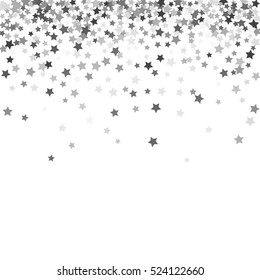 Abstract pattern of random falling silver stars on white background. Glitter pattern for banner, greeting card, Christmas and New Year card, invitation, postcard, paper packaging. Vector illustration