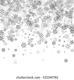 Abstract pattern of random falling silver snowflakes on white background. Glitter pattern for banner, greeting, Christmas and New Year card, invitation, postcard, paper packaging. Vector illustration