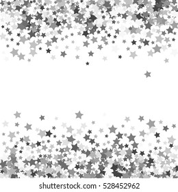 Abstract pattern of random falling silver stars on white background. Glitter template for banner, greeting, Christmas and New Year card, invitation, postcard, paper packaging. Vector illustration