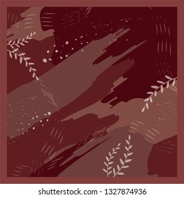 abstract pattern for scarf with maroon color background