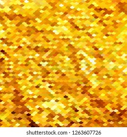 Abstract pattern similar to fish scales or embroidered with sparkles, sequins fabric. Different shades of Golden, yellow. Scalable vector illustration.