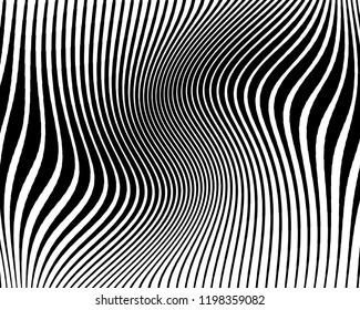 Abstract pattern. Texture with wavy, billowy lines. Optical art background. Wave design black and white. Digital image with a zebra stripes. Vector illustration
