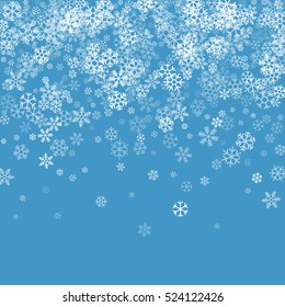 Abstract pattern of transparent falling snowflakes on blue background. Winter pattern for banner, greeting, Christmas and New Year card, invitation, postcard, paper packaging. Vector illustration