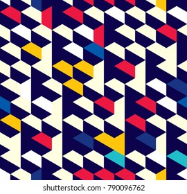 Abstract pattern of trapezoids and hexagons. The orderly movement of geometric forms.