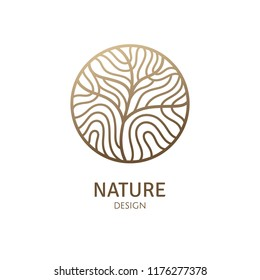 Abstract pattern tree logo. Vector emblem wavy structure of plant. Ornamental minimal badge for design of natural products, flower shop, cosmetics and ecology concepts, health, spa and yoga Center.