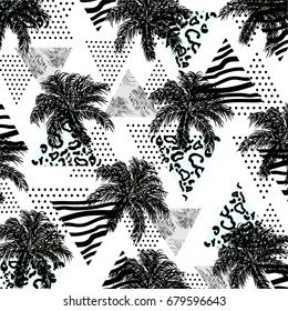 Abstract Pattern With Tropical Palm Leavesand Leopardzebra Textured Triangles Triangle