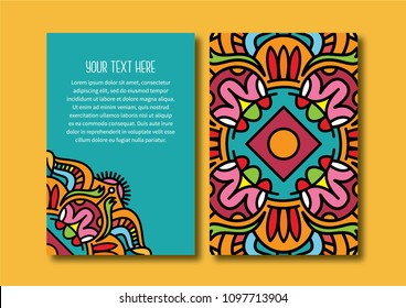 Abstract pattern vector card front and back template