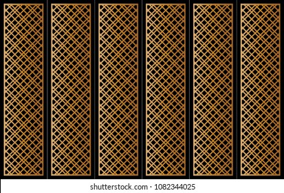 Abstract pattern vector. Diagonal line ornament gold on black background. Design print for partition, doors, panels, screen, background, wallpaper. Set 1