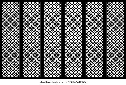 Abstract pattern vector. Diagonal line six modul.  Ornament white on black background. Design print for partition, doors, panels, screen, background, wallpaper. Set 2