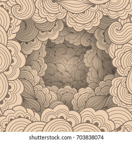 Abstract pattern with waves and floral motifs. Texture with volumetric doodle elements. Paper art background in doodle style. Vector 3d illustration. Abstract ornate art