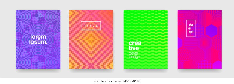 Abstract patterns, geometric shape trend vector background. Modern color gradient, line wave and circle texture pattern background