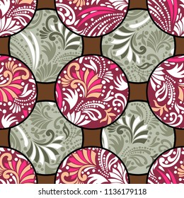 Abstract Patterns Seamless oriental pattern with pink ornaments