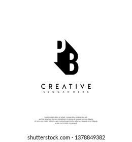 abstract PB logo letter in shadow shape design concept