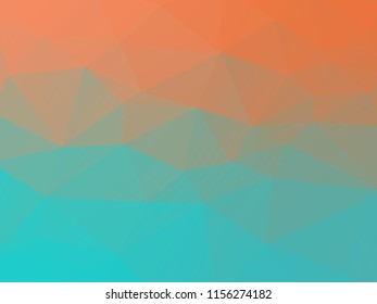 Abstract peach and teal polygonal mosaic background. Vector illustration. Multicolor low poly gradient background. Crystal polygonal background.
