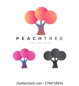 Abstract Peach Tree Logo Design Vector Template ESP 10. Perfect for Luxury Beauty, Saloon, Story and other Business