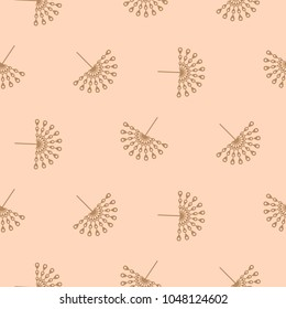 Abstract peacock feather fan seamless vector pattern. Elegant minimal rose gold repeat texture.