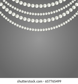 Abstract pearl garlands, beads isolated on gray background. Set for celebratory design, Christmas decorations. wedding theme. (Clipping mask used, easy editable) Vector illustration.