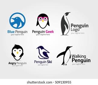 Abstract penguin logo. Vector penguin logo design template
