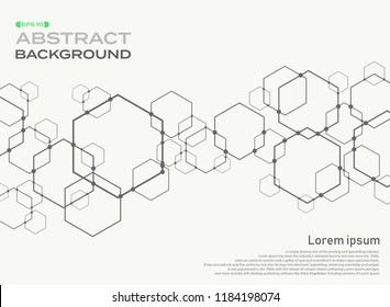 Abstract of pentagon shape pattern connection background with space, illustration vector eps10