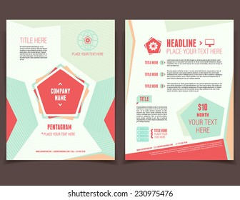 Abstract pentagram corporate design template for broshure cover and flyer