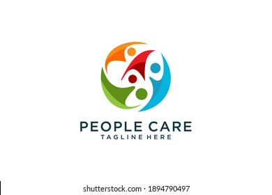 Abstract People Care Logo. Human Icon with Circular Hand Symbol Around isolated on White Background. Flat Vector Logo Design Template Element.