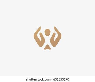 Abstract people care vector logo. Hand child care logotype. Creative negative space icon symbol