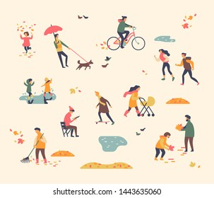 Abstract people enjoying autumn or fall season. Various characters umping in puddles, collecting leaves, walking, cycling wearing autumn or fall season clothes