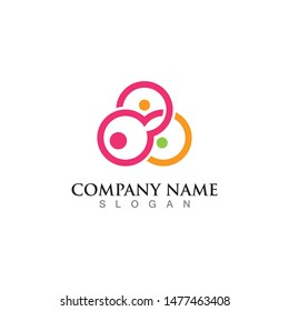 Abstract people logo template design vector, emblem concept creative