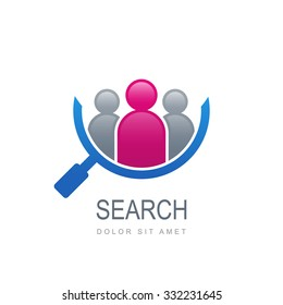 Abstract people silhouette in magnifier shape. Vector logo template. Design concept for search for employees and job, business, human resource and professional headhunting, social network.