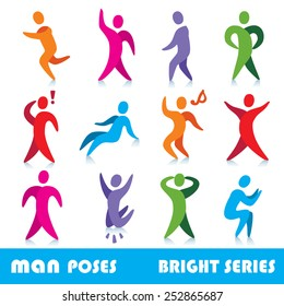 Abstract people silhouettes vector icons, bright series