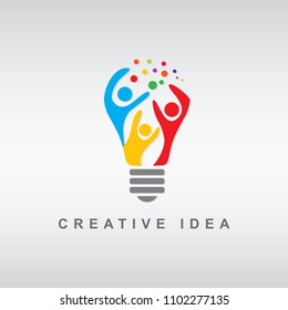 Abstract people symbol in shape of a lamp, vector template