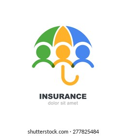 Abstract people under multicolor umbrella, isolated on white background. Vector logo design template. Concept for insurance, secure, health, safety and protection.