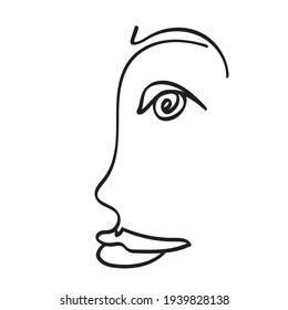 Abstract person face profile one line drawing. Portret minimalistic style. Continuous black line on white vector background, eye vector, lips vector, linear art, silhouette, Surreal Face, hand drawn