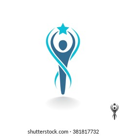 Abstract person holds a star in hand. Stylized athlete figure. Vector logo design template.