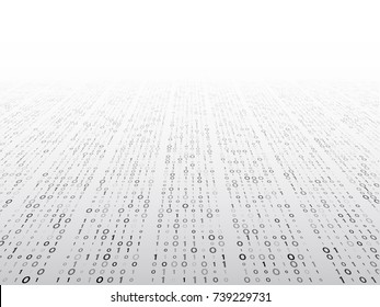 Abstract perspective binary code on a grey background. Matrix technology concept. Computer digital data illustration.