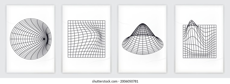 Abstract perspective grid set, on sheets of paper with shadow.