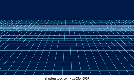 Abstract perspective grid. Wireframe landscape. Vector illustration.