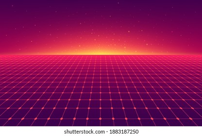 Abstract perspective red violet grid. Retro futuristic neon line on dark background, 80s design perspective distorted plane landscape composed of crossed neon lights and laser beams. Vector EPS10