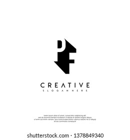 abstract PF logo letter in shadow shape design concept