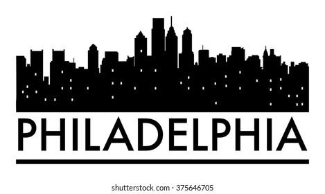 Abstract Philadelphia skyline, with various landmarks, vector illustration