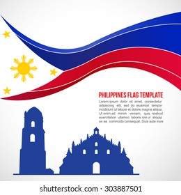 Abstract Philippines flag wave and Paoay Church Temple
