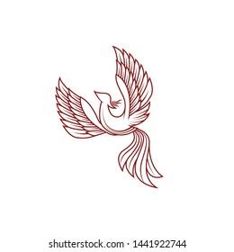 Abstract Phoenix bird Ancient Symbol ethnic animal myth logo design vector