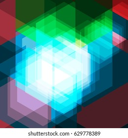 Abstract phosphoric light. Hexagon dazzling geometric concept. Futuristic abstract wallpaper. High quality illustration. Template background. Technology photogenic design. Glowing hexagons wallpaper.