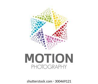 Abstract photography logo design . Hexagonal loop symbol photography vector. Abstract colorful photography symbol vector. Abstract media play logo. Play symbol vector.