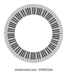 Abstract piano keyboard in a circle