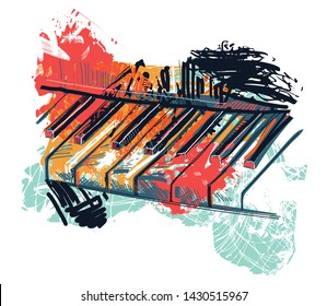 Abstract piano keyboard in watercolor sketch style. Colorful hand drawn grunge style art for banner, card, t-shirt, tattoo, print, poster. Vector illustration