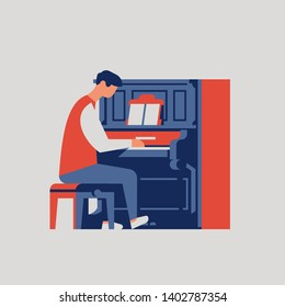 Abstract piano player character playing old upright piano. Composer working on a melody with his piano and notes